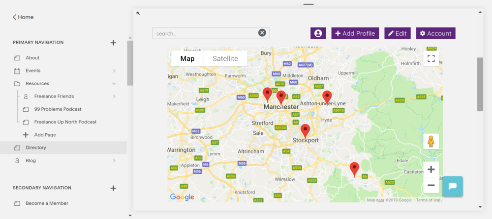 Show entries on a map - Toggle between the map and profile view, or display both at the same time.