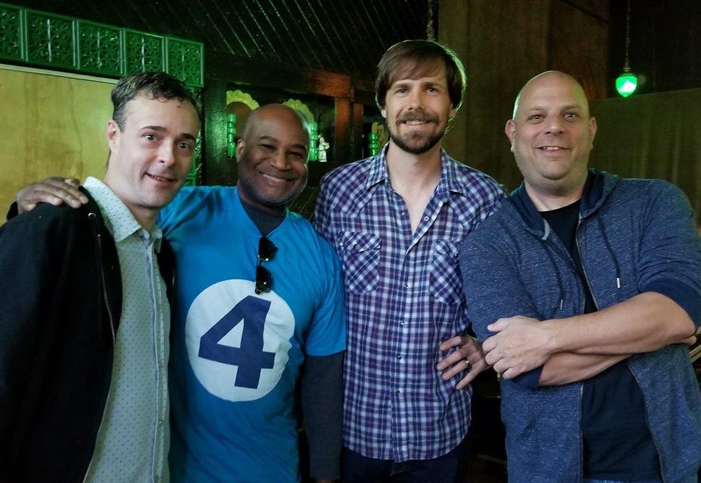 Joe hieronymus, jason lamb, joe mckenzie, and host joseph lyons after the June 2018 show