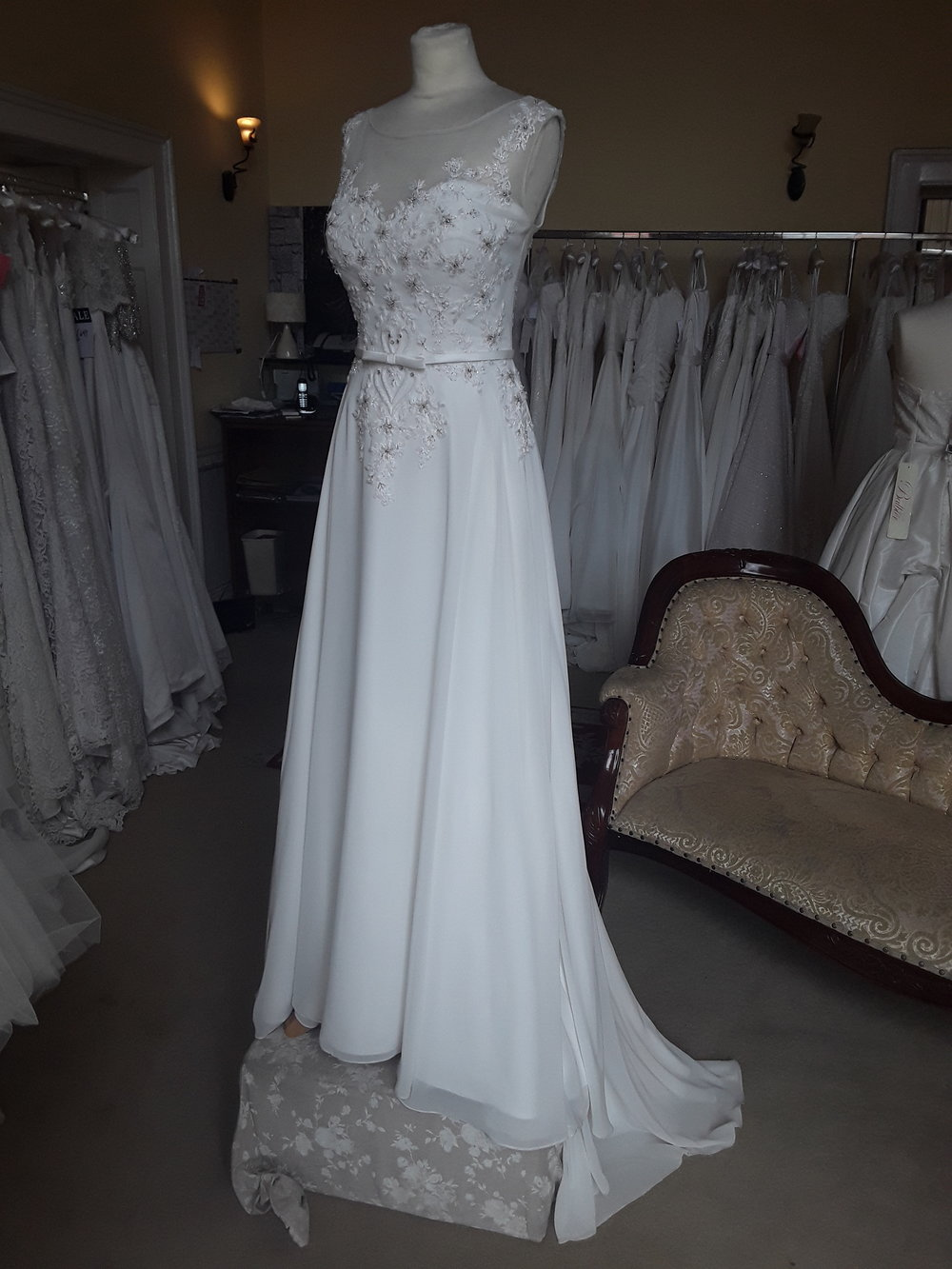 White Rose A-line chiffon dress.  Colour: ivory  Size: 14  Was €1,495 now €1,000  Ref: E100/Adele