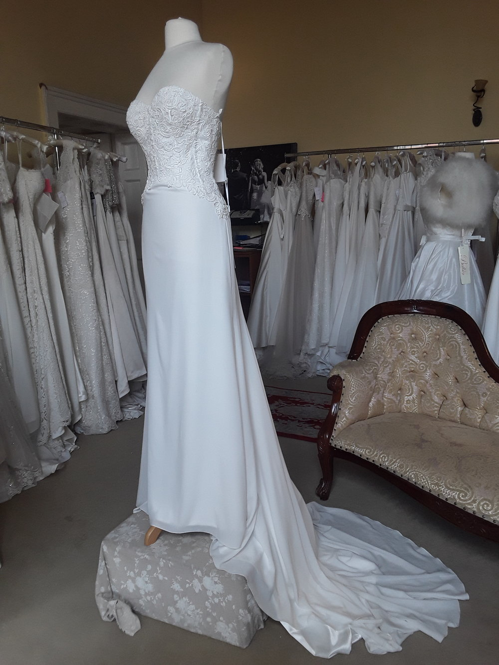 Ellis strapless Chiffon Dress with Embroidered Bodice  Colour : Ivory  Size: 10  Was €1,595 now €599  Ref: E107