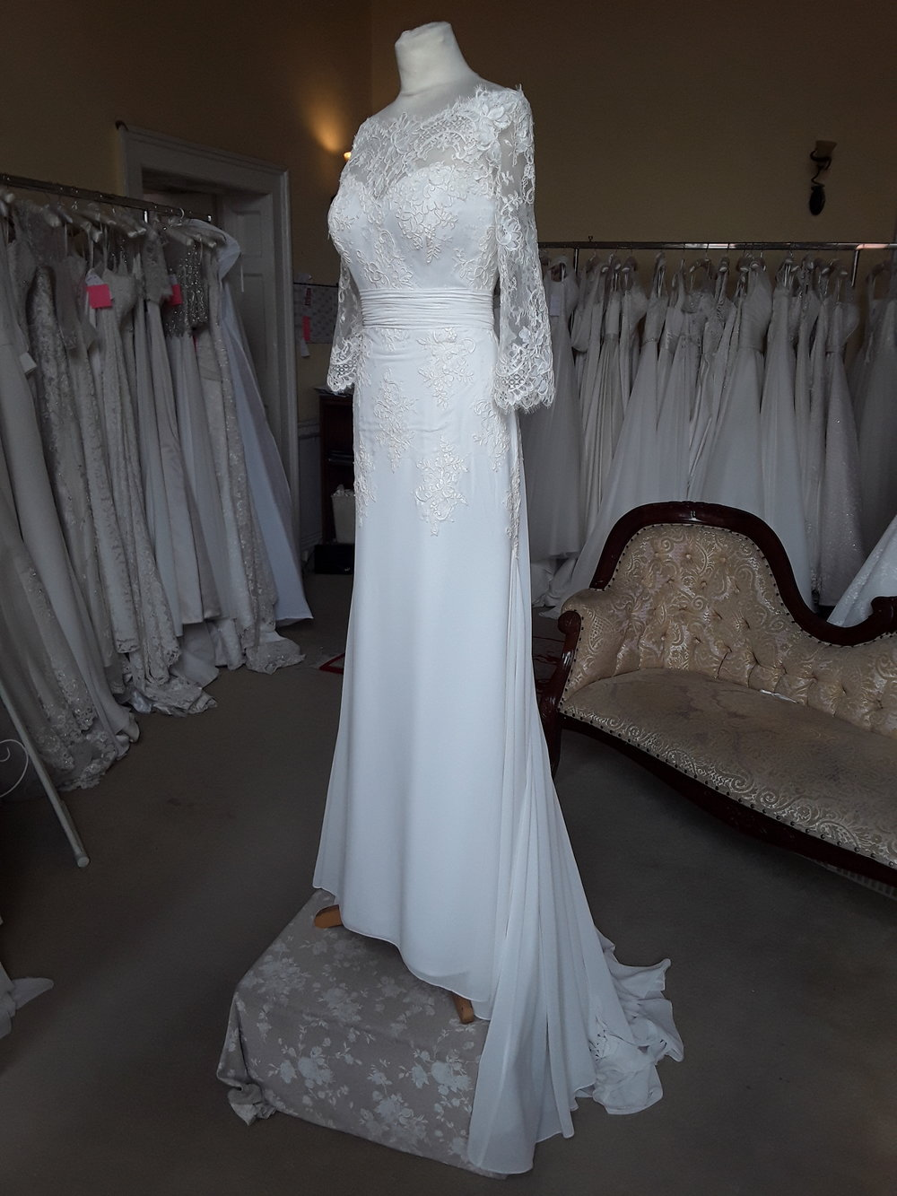 WHITE ROSE CHIFFON/LACE FIT AND FLARE DRESS  SIZE: 12  COLOUR: IVORY  WAS €1,395 NOW €950  Ref: E111