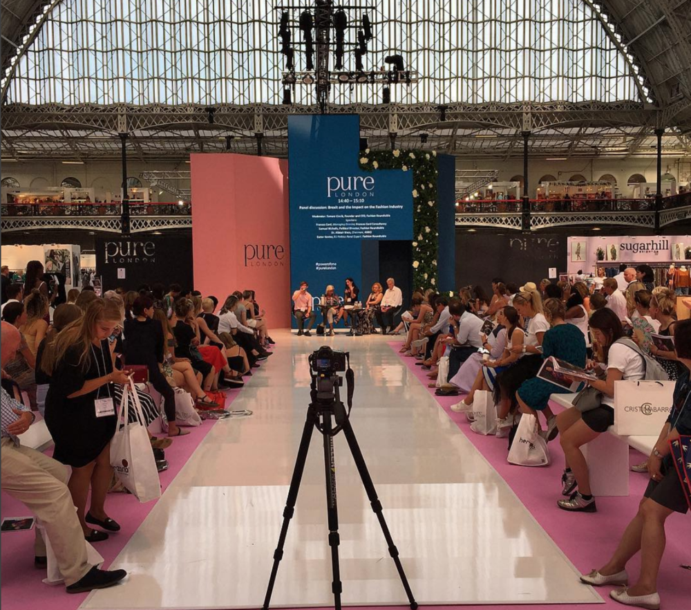 FASHION AND BREXIT PURE LONDON - JULY 2018Speakers: Alistair Knox ASBCI, Eszter Kantor Fashion Roundtable, Samuel Nicholls Fashion Roundtable, Frances Card Luxury Fashion Consultant.