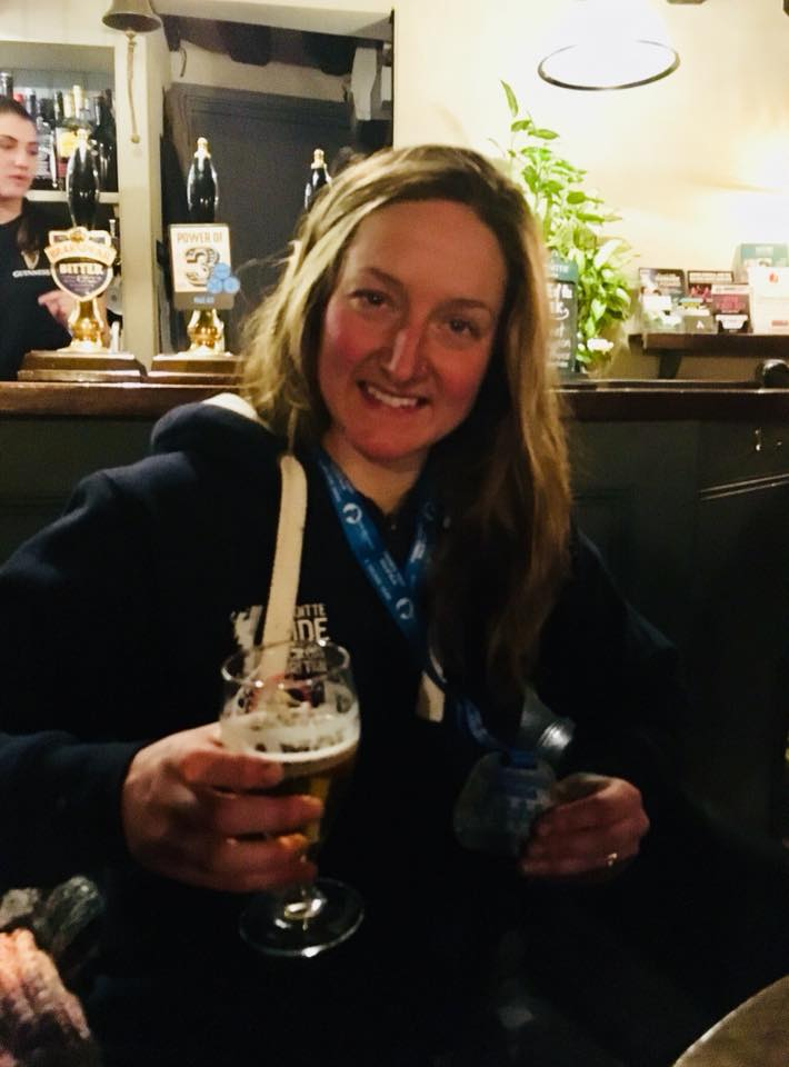 A well deserved beer at the end.