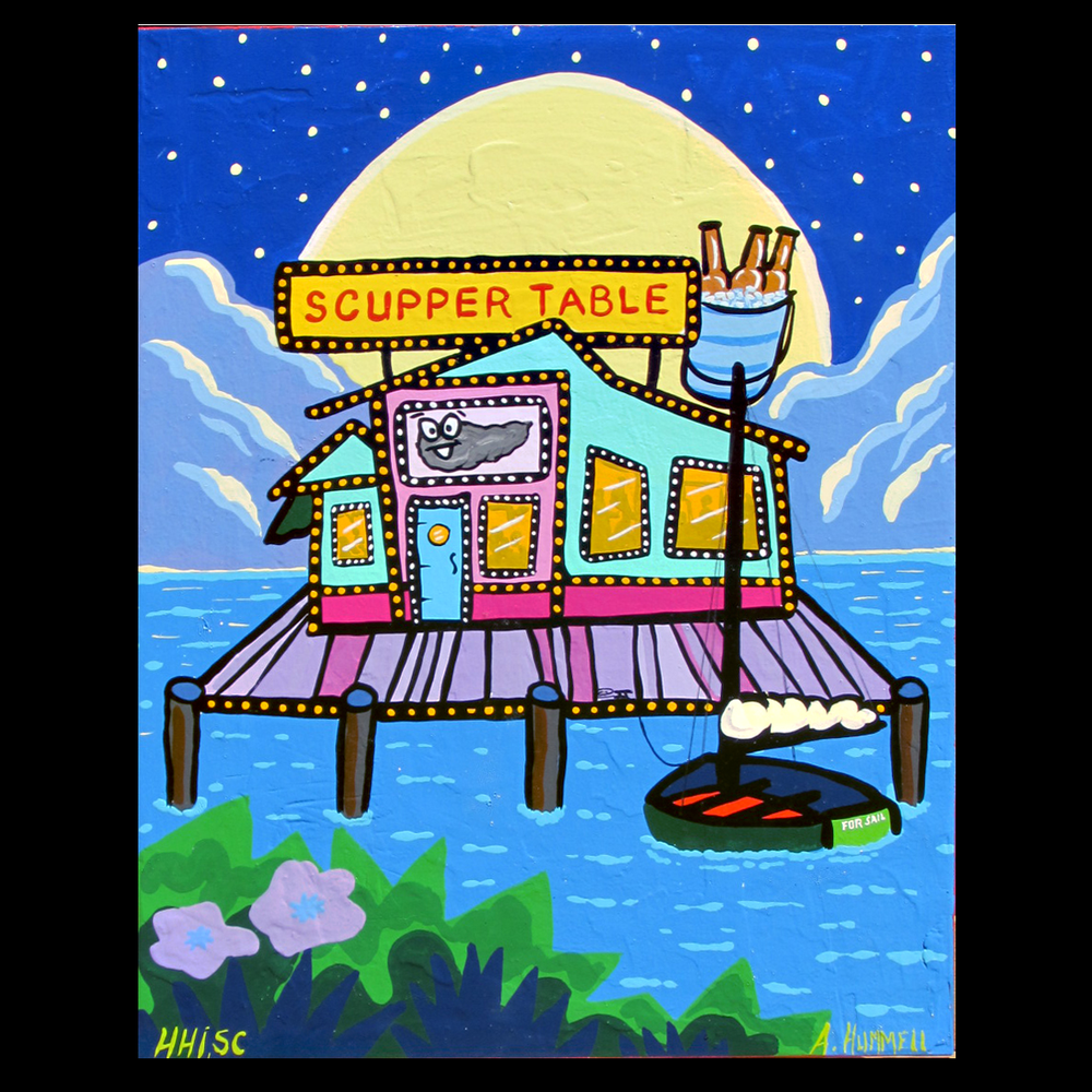 Original Painting for upcoming book-  Dining Downwind, Lowcountry Style . Enamel on 16x20x1.5 panel. $325 + shipping