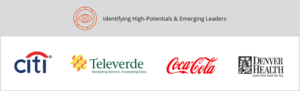 """The title of this graphic is """"Identifying High-Potentials & Emerging Leaders."""" It includes Citi, Televerde, Coca-Cola, and Denver Health client logos."""