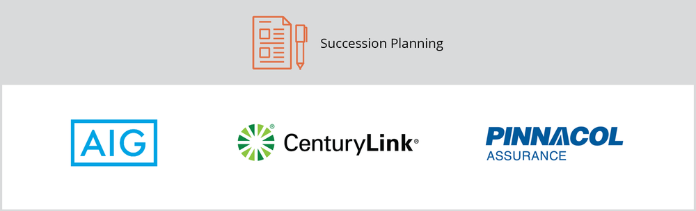 """The title of this graphic is """"Succession Planning."""" It includes AIG, CenturyLink, and the Pinnacol Assurance client logos."""