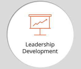 "The graphic displays an icon and the text ""Leadership Development."""