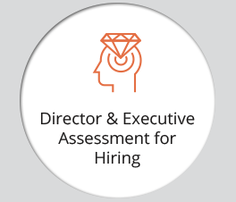"The graphic displays an icon and the text ""Director & Executive Assessment for Hiring."""