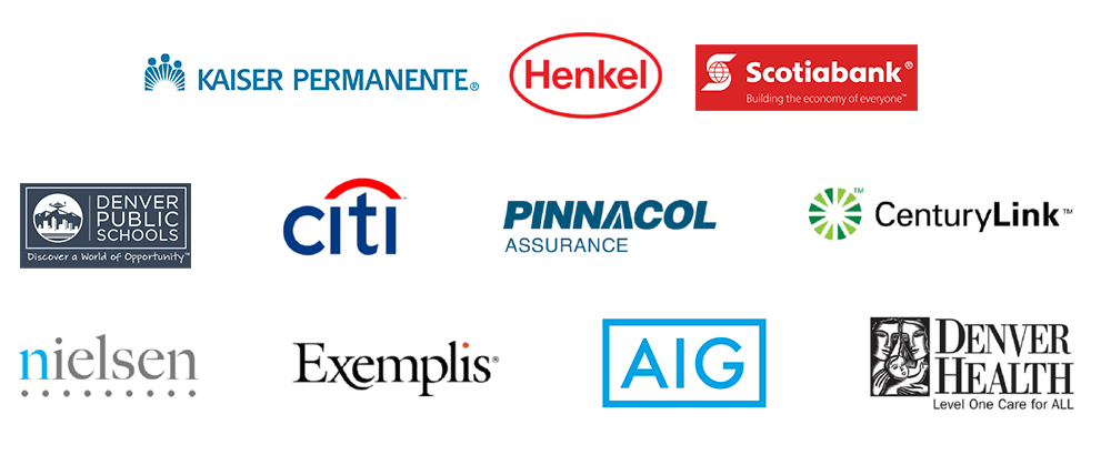 The graphic above shows the logos of some of the clients who use Pinsight. These include Kaiser Permanente, Henkel, Scotiabank, Denver Publich Schools, Citi, Pinnacol Assurance, CenturyLink, nielsen, Exemplis, AIG, and Denver Health.