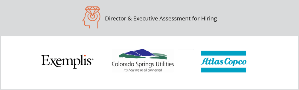"""The title of this graphic is """"Director & Executive Assessment for Hiring."""" It includes Exemplis, Colorado Springs Utilities, the Atlas Copco client logos."""