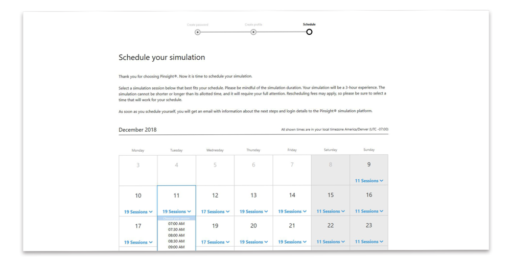 Assessment Center Scheduling Screen
