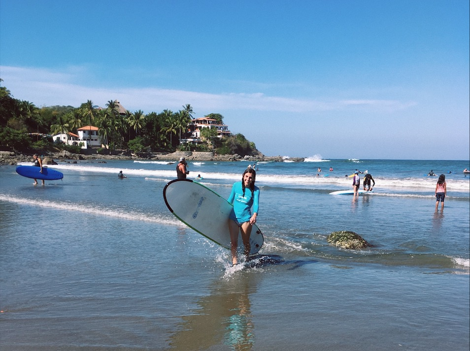 Trying to surf in Sayulita, Mexico.