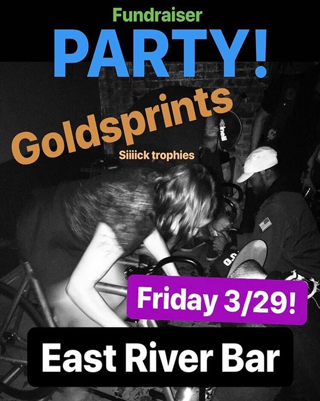 AT IT AGAIN!  FUNDRAISER PARTY FRIDAY 3/29 EAST RIVER BAR 🚲 • CUSTOM TROPHIES FOR GOLDSPRINTS WINNERS BY @doubleheaddigifacturing 🏆 • RAFFLE PRIZES FROM @varietycoffee @abus_cycling_usa @dank_brooklyn @machinesforfreedom @babeland_toys @manymanymore! Come hang bring ca$$h race bikes!  8:30PM - signups  9:30PM - sprints  11PM - raffle  #ffyeah