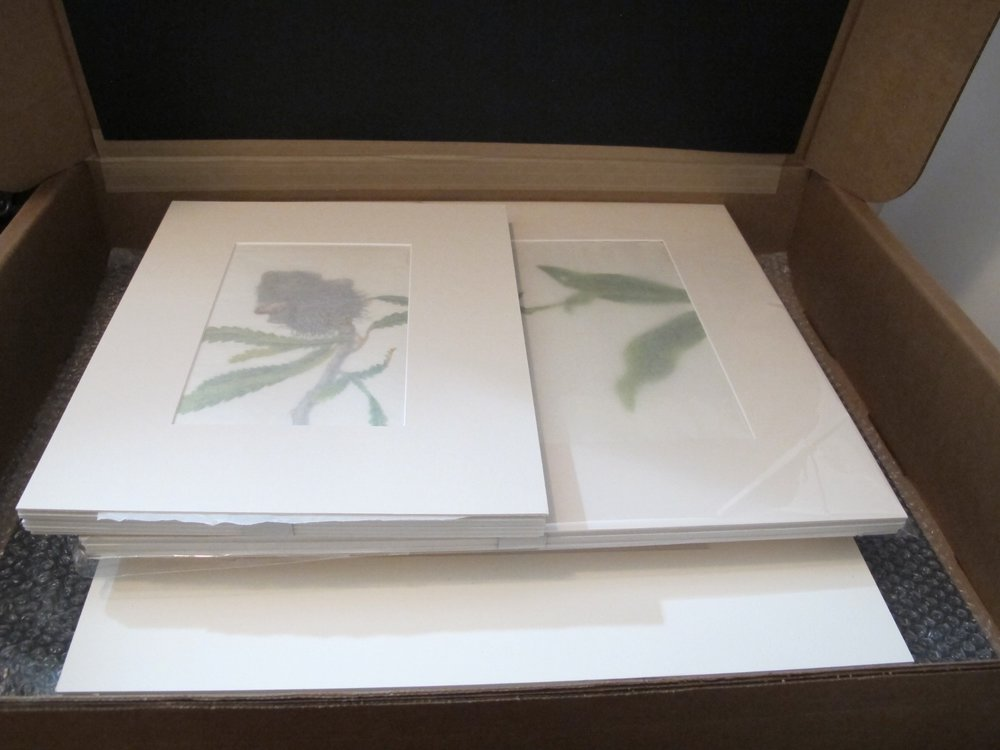 The first shipment of 8 paintings being readied for shipping to the Netherlands.