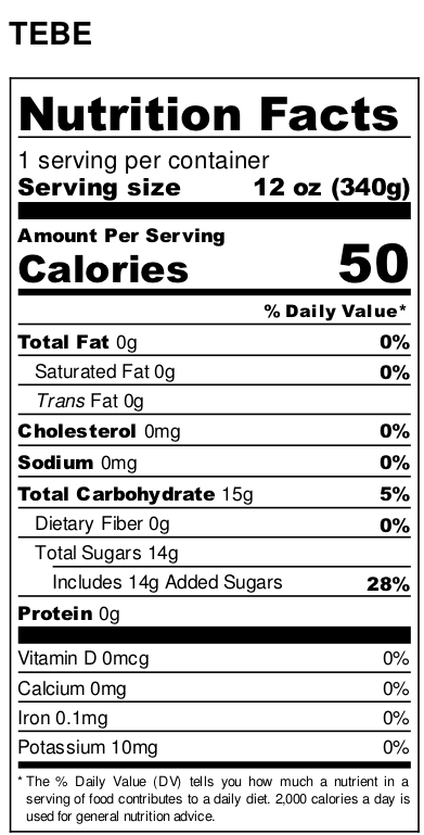 TEBE - Nutritional fact