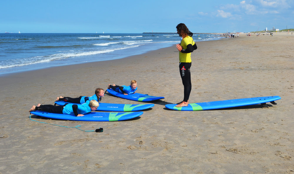Junior surfing class in session