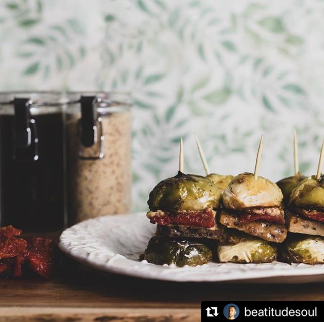 These brussels sprouts sliders made with our Stone Ground Mustard shared by @beatitudesoul are a thing of beauty!