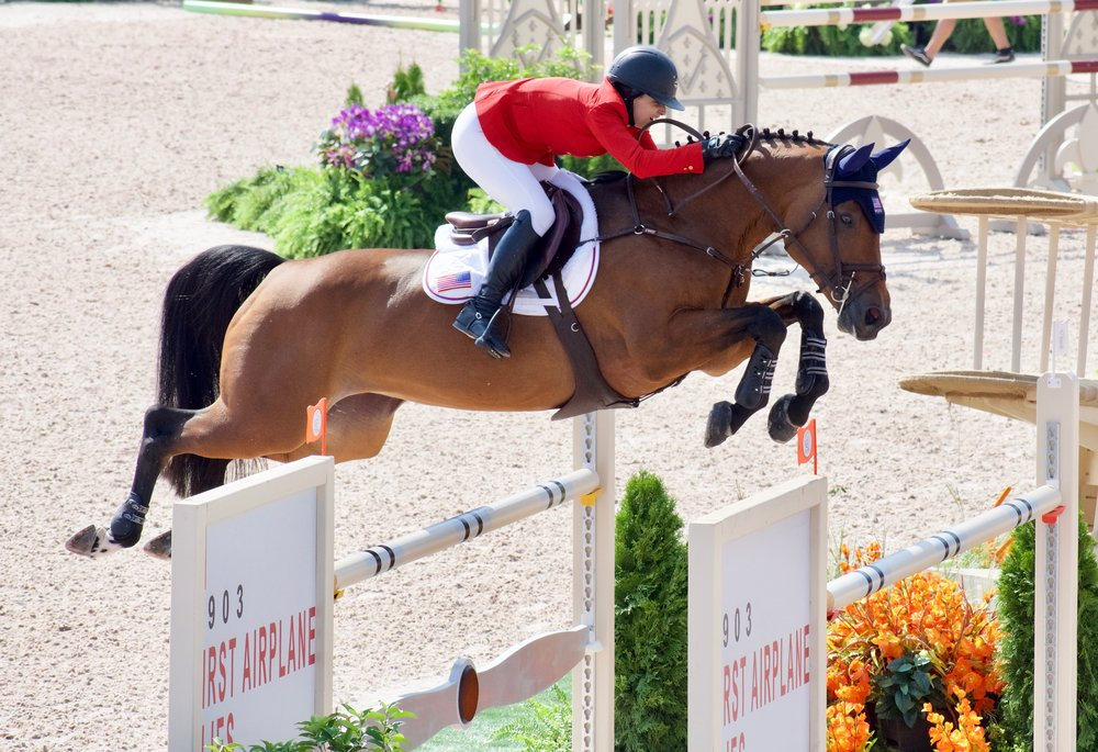 Adrienne and her beloved mare Cristalline fly over the final fence in the final round of jumping competition on Friday.