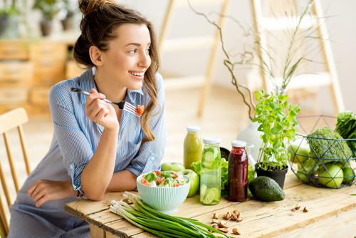 Chick eating healthy food.jpg
