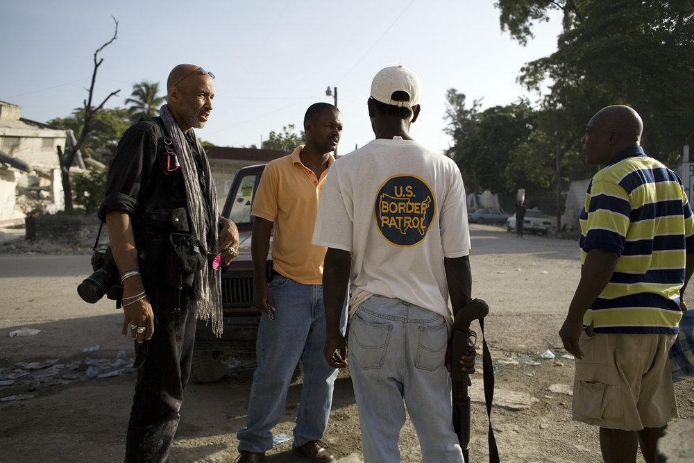 Stanley Greene, with Evans, right, Port au Prince, Haiti, July 2010
