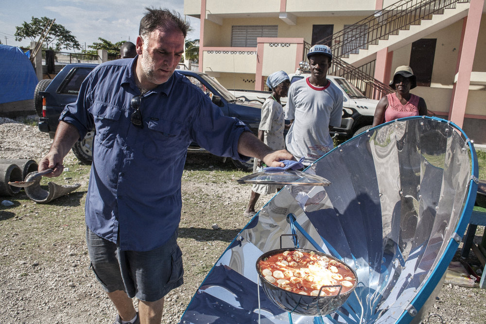 Chef José Andres takes the lid off of a pot powered by a parabolic solar stove. The stove refracts the sun and concentrates it to heat the food which can cut down on the reliance for people to cook with charcoal, a product of cut trees.