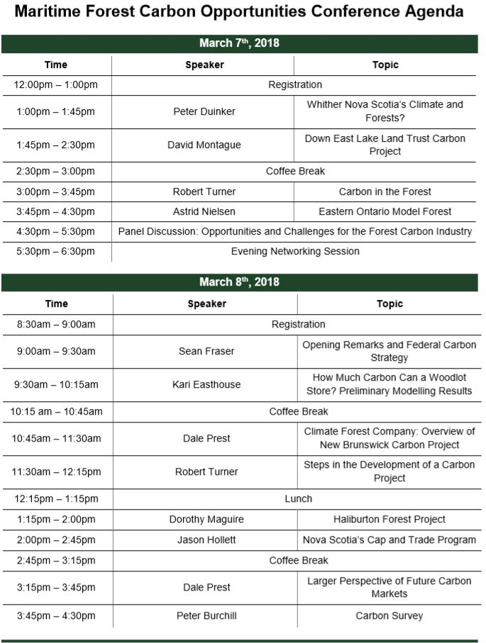 Schedule  Maritime Forest Carbon Opportunity Conference