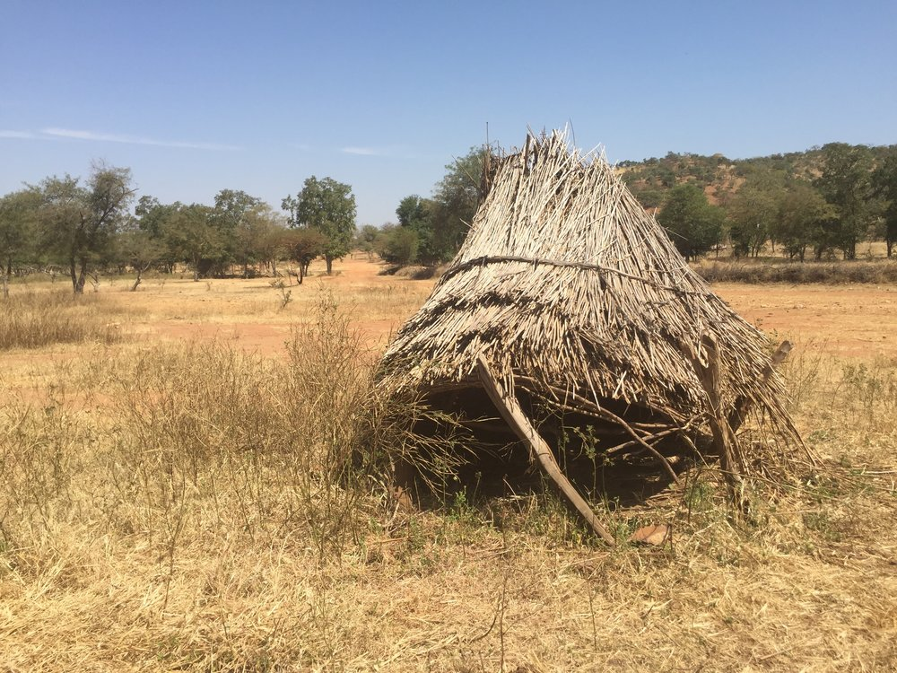 A temporary hut built as a home away from home so villagers can watch their crops during the rainy season.