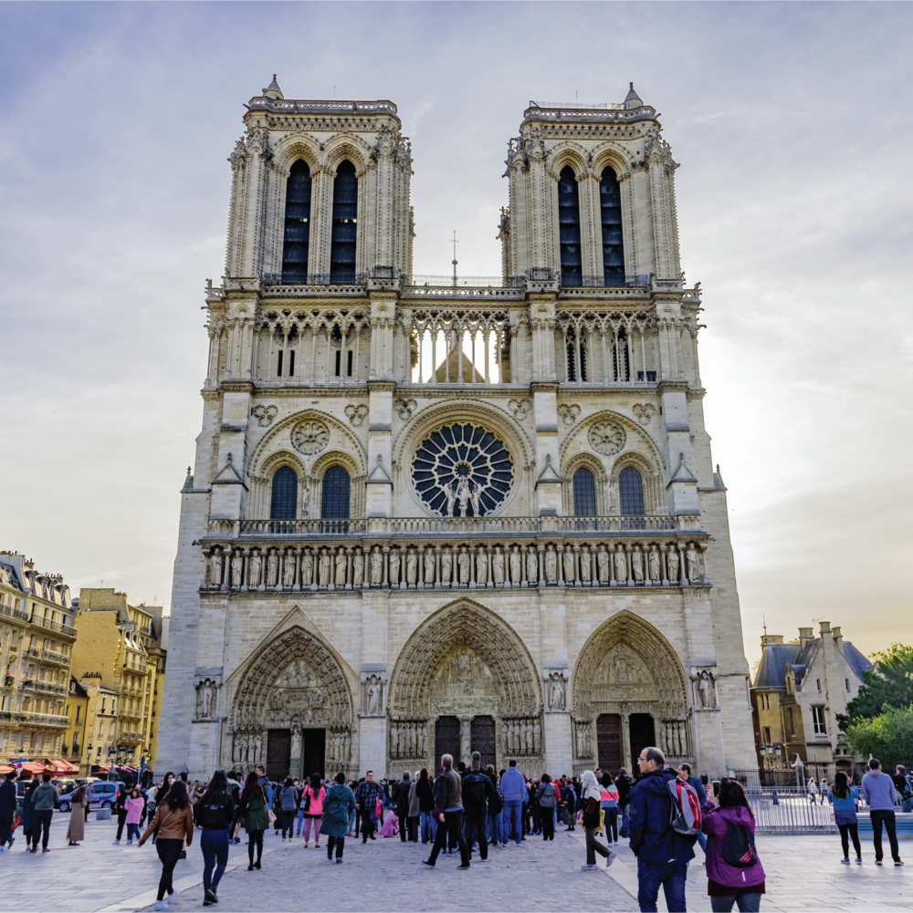 Visitors gather outside the Notre Dame cathedral.