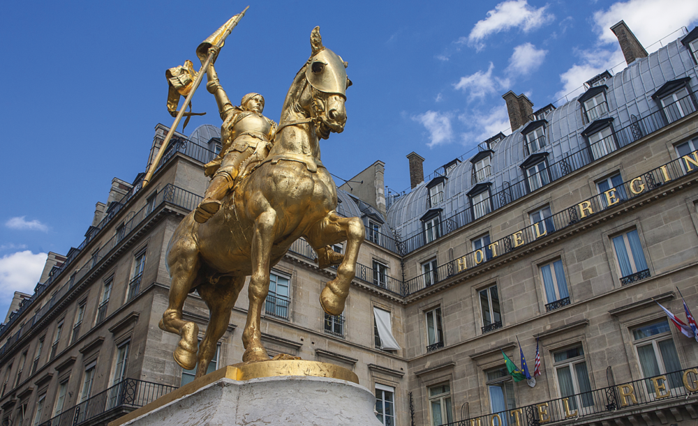 A monument of St. Joan of Arc, the national heroine of France.