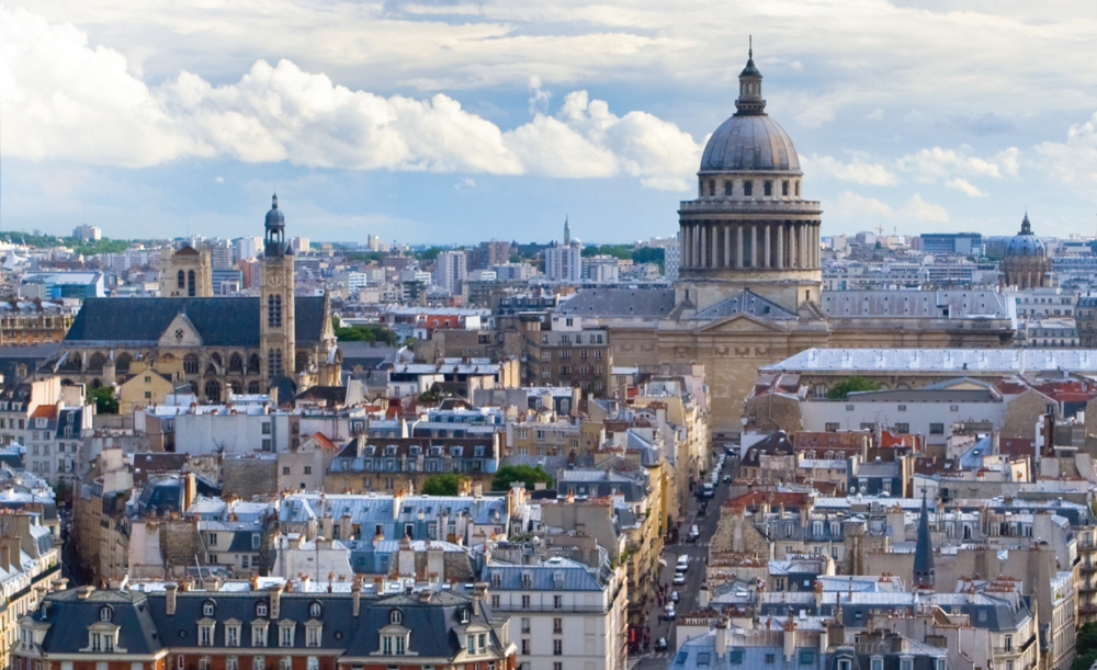 A view of the Pantheon of Paris as seen from the top of one of the towers of Notre Dame.