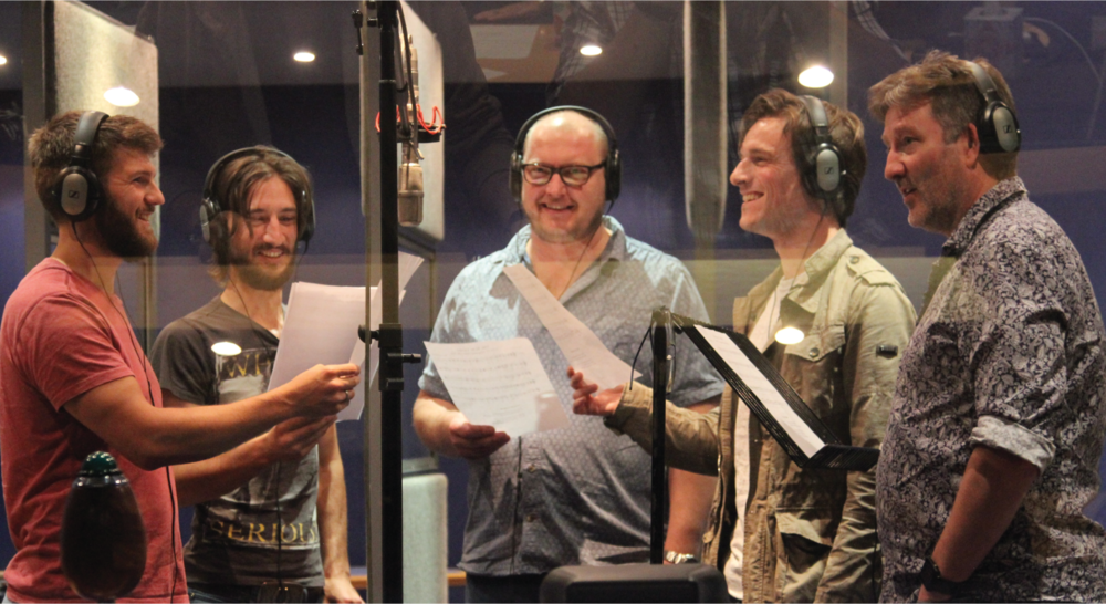Tim Uffindell, Tom Alexander, Peter Moreton, Barnaby Jago, and Stuart Pendred in the recording studio during the production of Ode to Saint Cecilia.