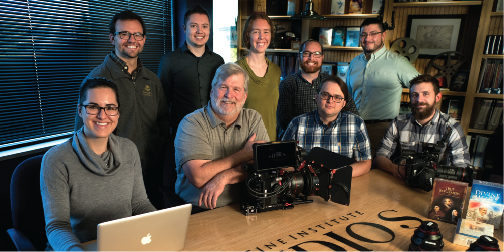 The Augustine Institute Studio team. From left to right: Aurora Cerulli, Ted Mast, Matthew Krekeler, Steve Flanigan, Constance Graves, Jon Ervin, Justin Leddick, Michael Sanchez, Kevin Mallory.