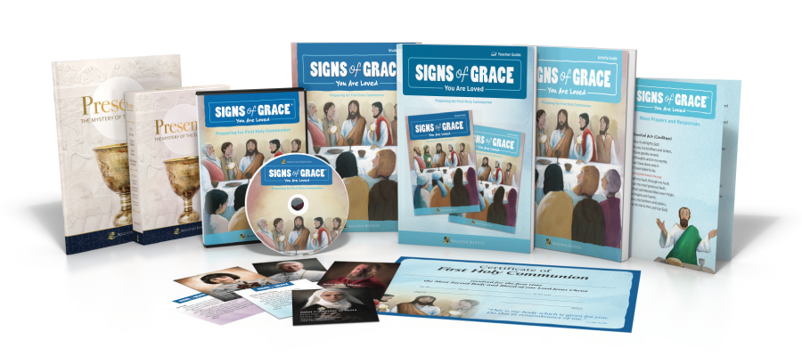 Created by the trusted theologians and award-winning film studio at the Augustine Institute,  Signs of Grace  is the only comprehensive sacramental preparation program for children that includes a thorough family faith formation component.