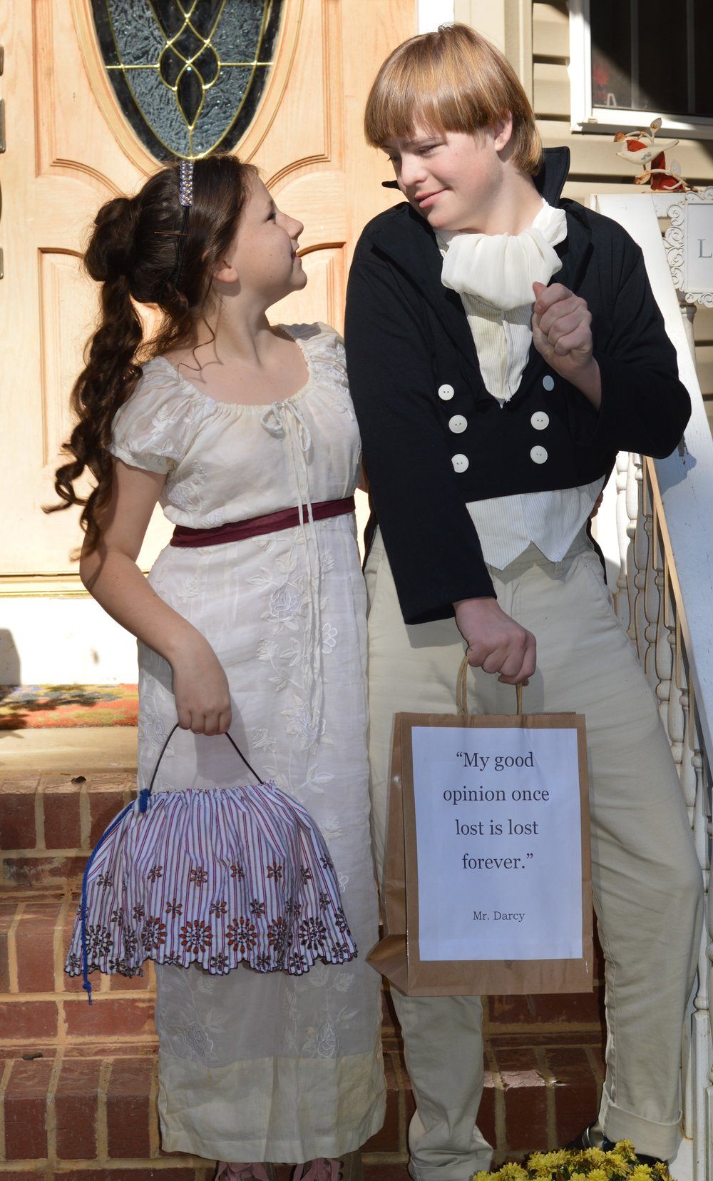 Susannah Pearce's children in Halloween costumes as Mr. Darcy and Elizabeth Bennett.
