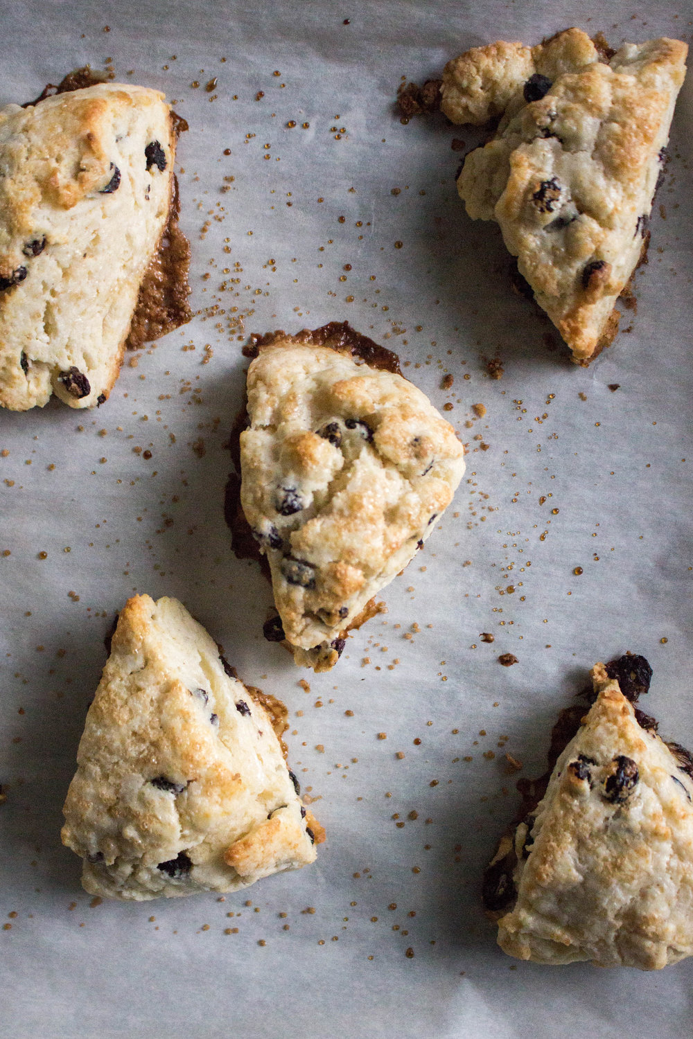 cream scones  - makes 16 small-ish sconesadapted from smitten kitchen 2 cups all-purpose flour1 tablespoon baking powder3 tablespoons granulated sugar1/2 teaspoon salt5 tablespoons chilled, unsalted butter, cut into 1/4-inch cubes1/2 cup currants or dried blueberries1 cup heavy cream, plus extra for brushingturbinado sugar, for sprinkling