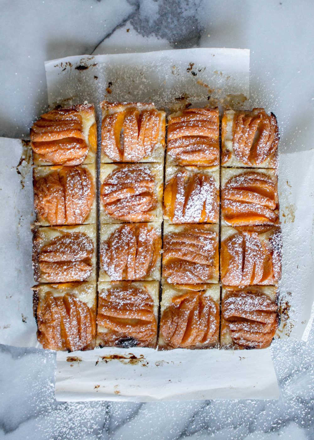apricot almond bars - makes one 8x8-inch panadapted from smitten kitchenYield: 16 or 25 bars, depending on how you cut themCrust1 cup all-purpose flour1/4 teaspoon table salt1/4 cup granulated sugar1/2 cup unsalted butter, coldalmond Filling110g almond flour (a little more than 1 cup)1 tablespoon all-purpose flourFew pinches of sea salt6 tablespoons sugar5 tablespoons unsalted butter, softened1 large egg1/4 teaspoon almond extract (optional)1 pound firm-ripe apricots