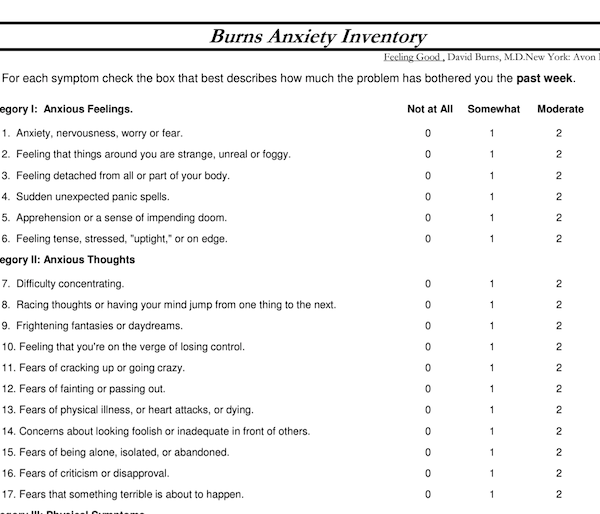 Anxiety and depression inventory form