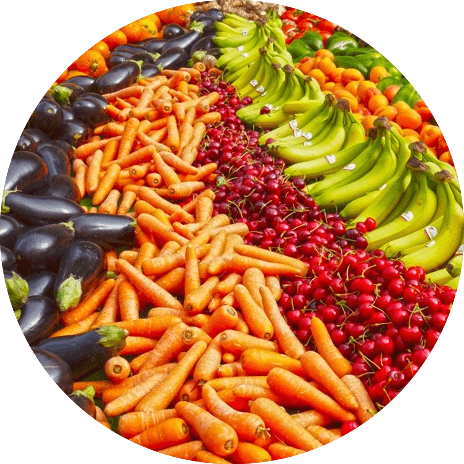 colorful display of vegetables fruits