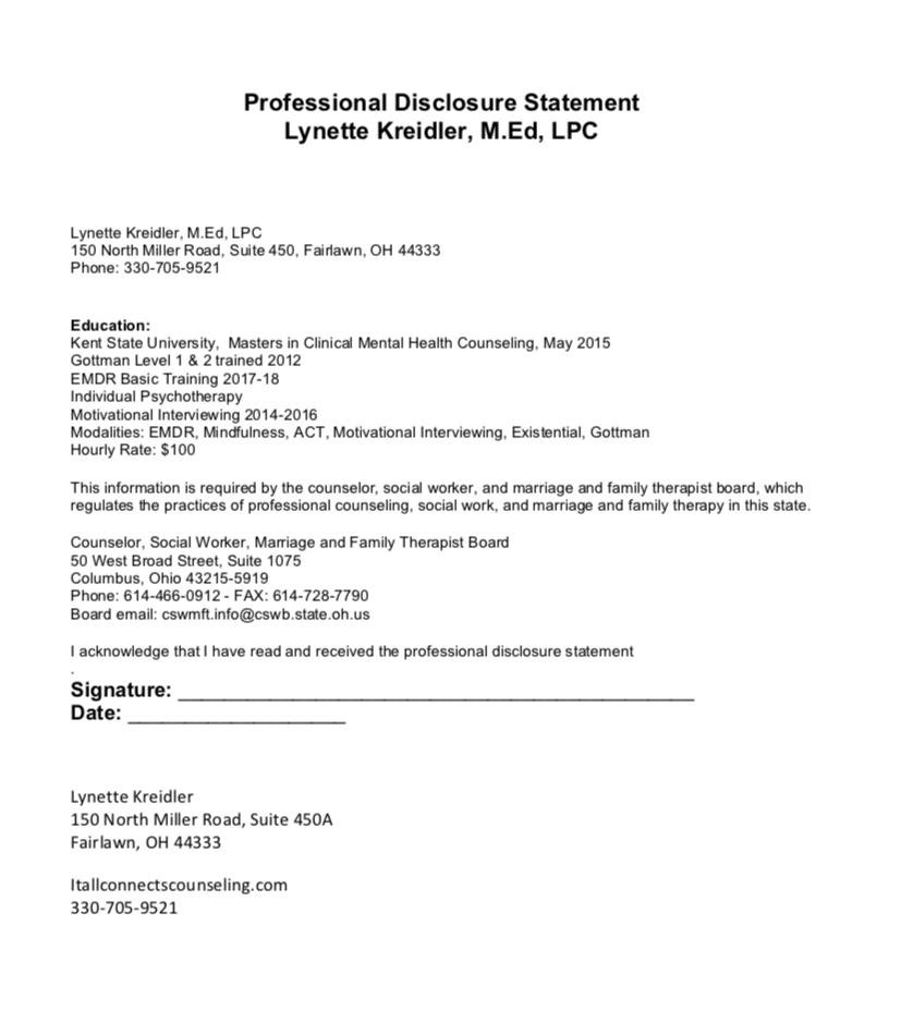 Lynette Kreidler Professional Disclosure Statement Image