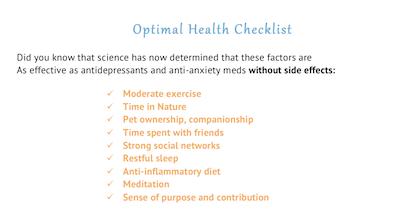 Optimal Health Checklist screenshot