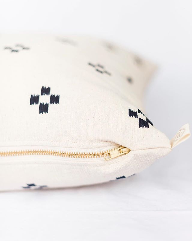 This navy block pillow is my top favorite right now! Double sided, easy to match and with a gorgeous brass zipper! Only a few left on the site- so snag them while they're available. This fabric was shipped from Thailand, so when they sell out we cannot guarantee a quick restock.