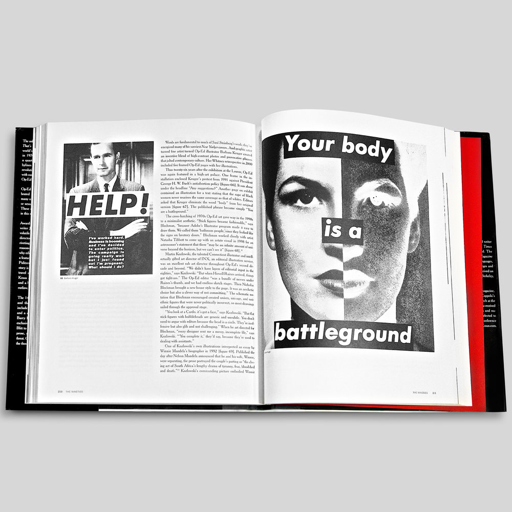 New York Times Op Ed design by Barbara Kruger