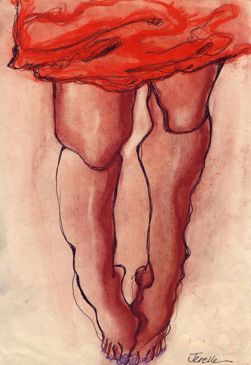 Jerelle Kraus Pastel Drawing - Looking at Toes