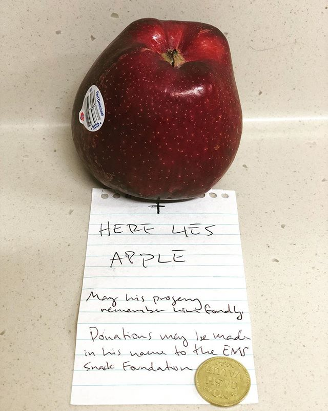 This apple has been in the EMS holding area x3 days. Tonight I made him a fitting eulogy. #ripinpeace #whoremembersthetorontoraccoon #emssnackfoundation #snax #insidesoutems #ems