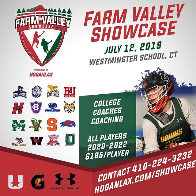 We are thrilled to partner with @hogan_lax who will be running an individual showcase July 12 before the Farm Valley Team Challenge July 13-14 at Westminster School (Simsbury, CT). Players will get COACHED by college coaches throughout the showcase. More colleges to be added - stay tuned! #FVTC #lacrosse #lax #showcase