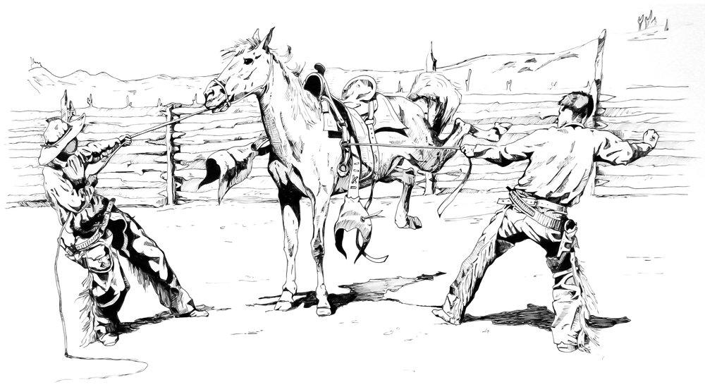 """F. Remmington study, ink on paper, 20""""x15"""""""