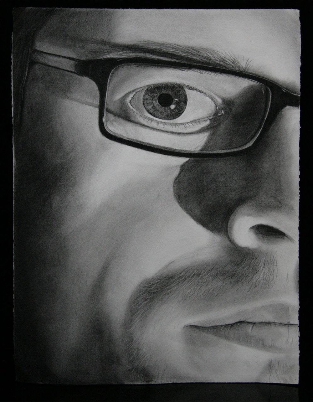 """Charcoal self portrait, 22""""x32"""""""
