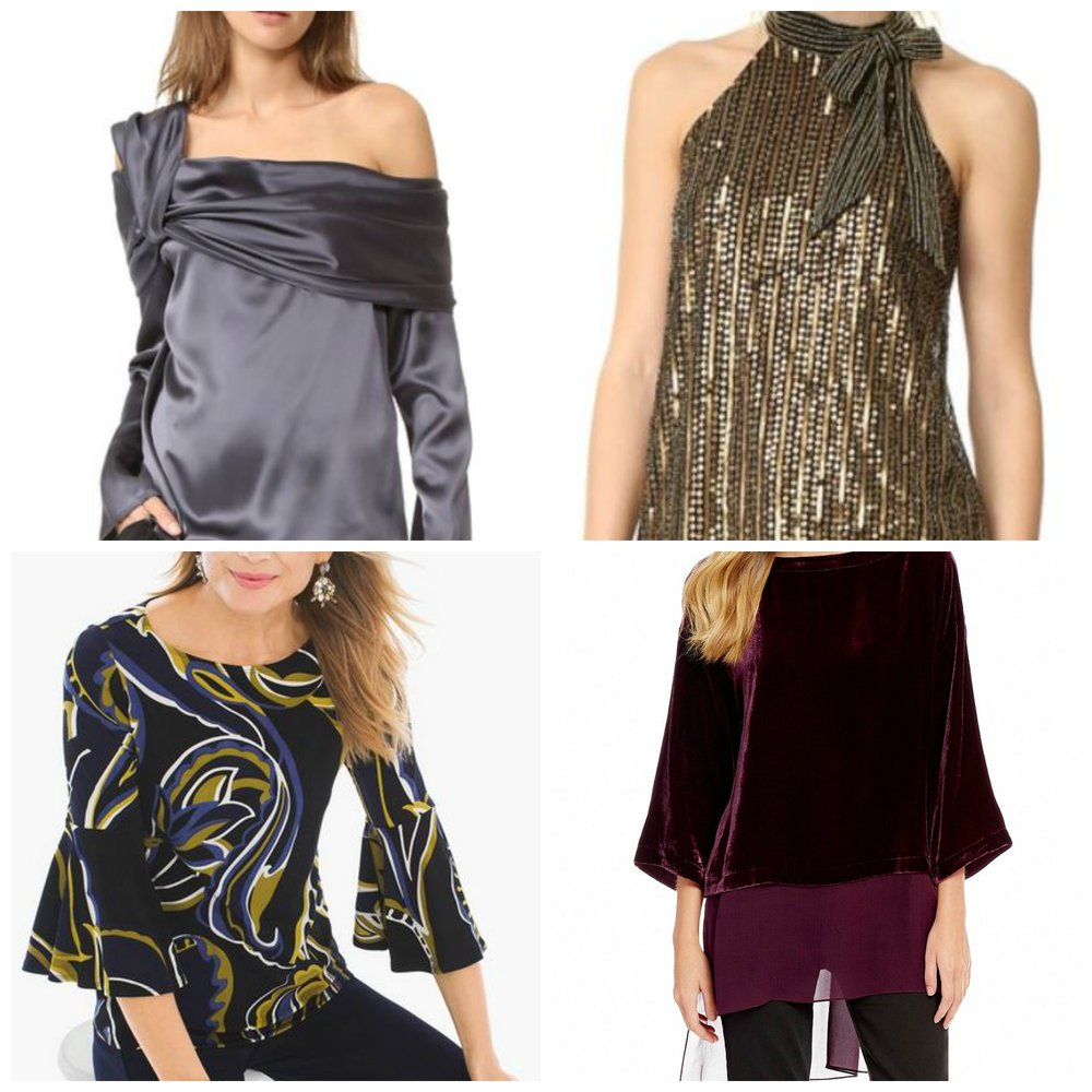 Add a little glamour to your office pants. Top, both  Shopbop . Bottom, L,  Chicos . Bottom R, Eileen Fisher at  Dillards .