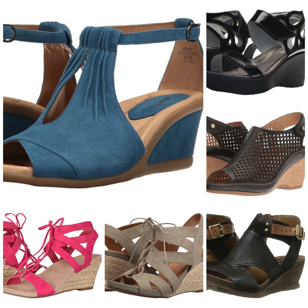 Center: Baltic blue suede 'Caper' by Earth, Top right: 'Intrigue' by Naot (I personally have trouble with the single strap across the toes, but these styles are always highly rated by everyone else), Right center: 'Capri' by Pikolinos, Bottom right: 'Scout' by Miz Mooz (also available in colors!), Bottom center: 'Acina Chester' by Clarks, Bottom left: Pretty in pink 'Noble Tansy' by Vionic. Same issue for me as the Naot pair, but maybe they'll work for you because they are oh, so cheerful!