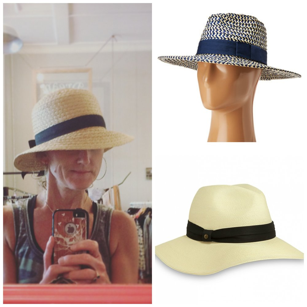 Left: at Bird in a Tree Boutique, top: Brixton panama hat at Zappos, bottom: Vista hat at Sun Day Afternoons